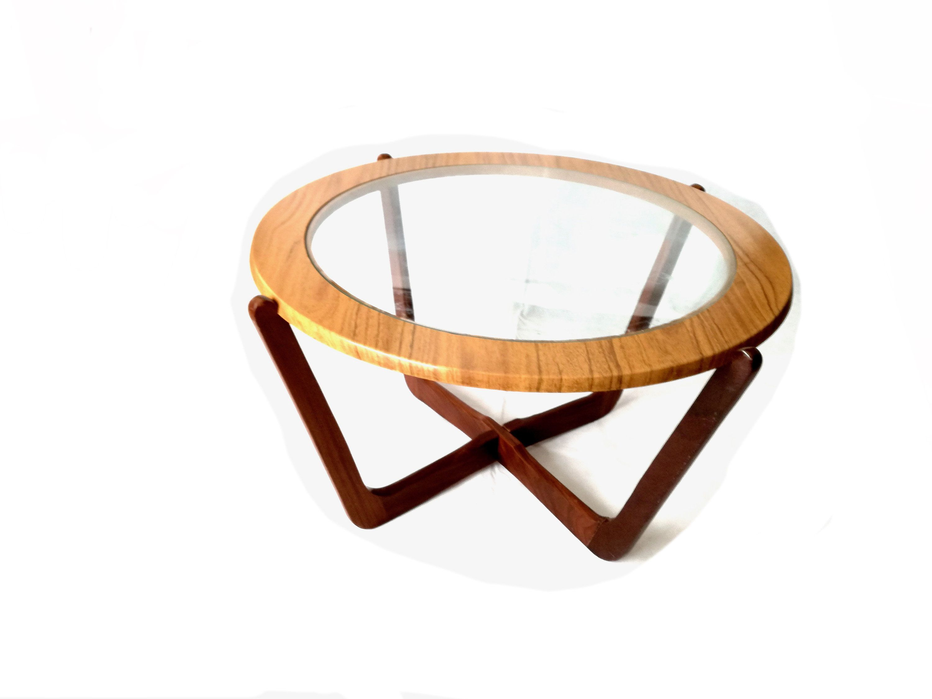 Round glass table top view on hold emma  retro coffee table vintage  danish teak  solid teak