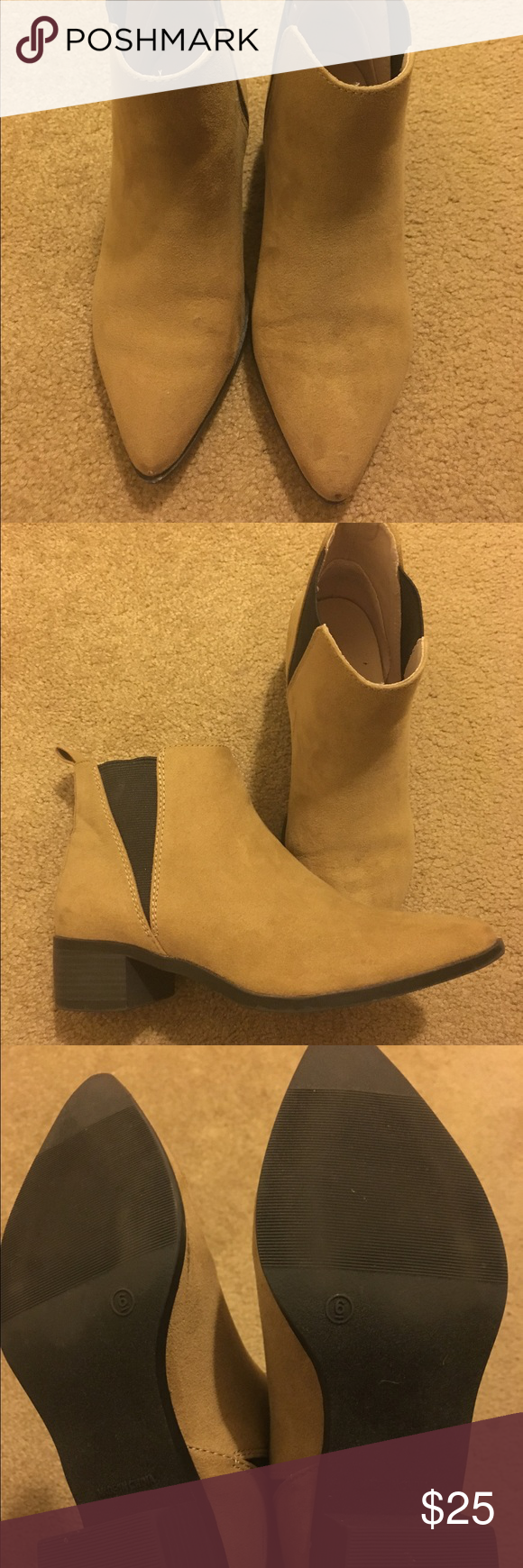 Acne style tan ankle boot Brand is old navy, faux suede, pointy toe ankle bootie in excellent condition! Old Navy Shoes Ankle Boots & Booties