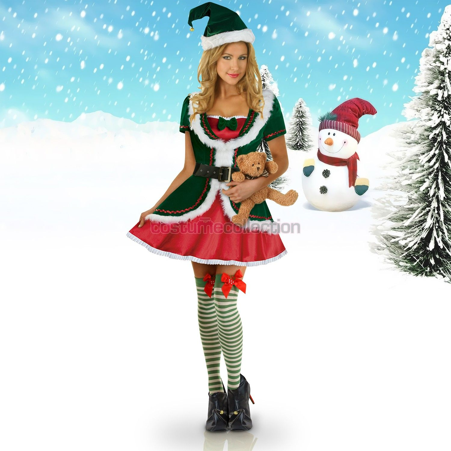 Womens Santa Helper Christmas Elf Costume Costume