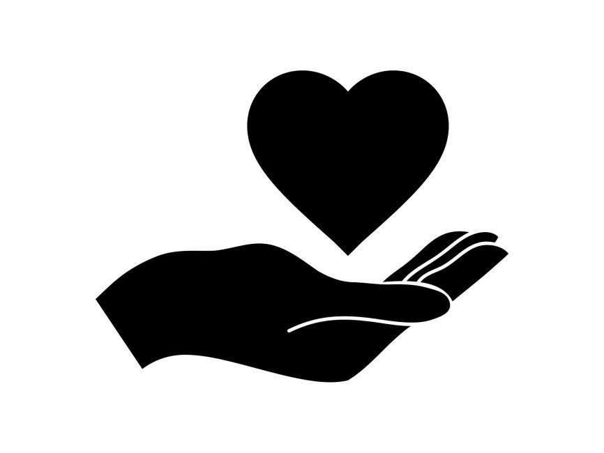 Hand and heart vector file hand heart logo vector