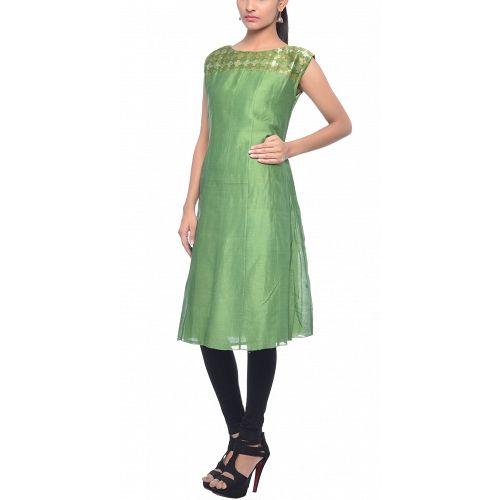 0c8626cd95 Sap green silk kurta with mega sleeves and brocade work by Smriti Gupta.  Ethnic fashion at dvibgyor.com #kurtidesigns #kurtifashion #kurtidesigns ...