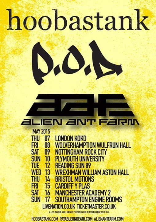 Hoobastank Announces Spring UK Tour with P O D  / Alien Ant
