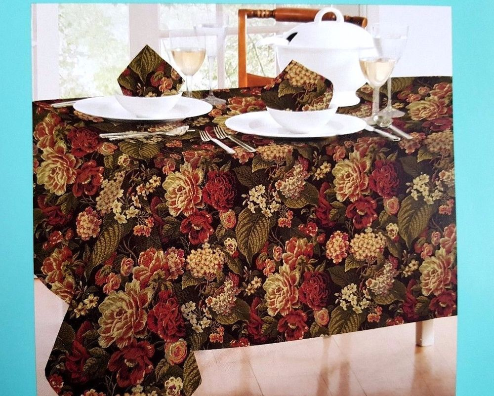 Waverly Tablecloth 70 Round Floral Flourish Gold Red Easy Care