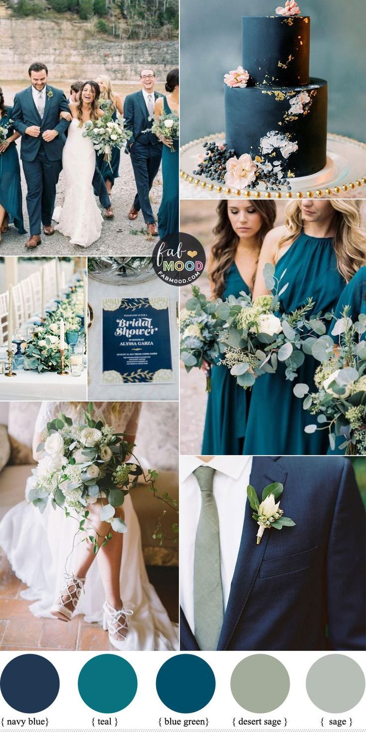 Navy Blue, Sage and Teal Wedding Color Combos in 2020