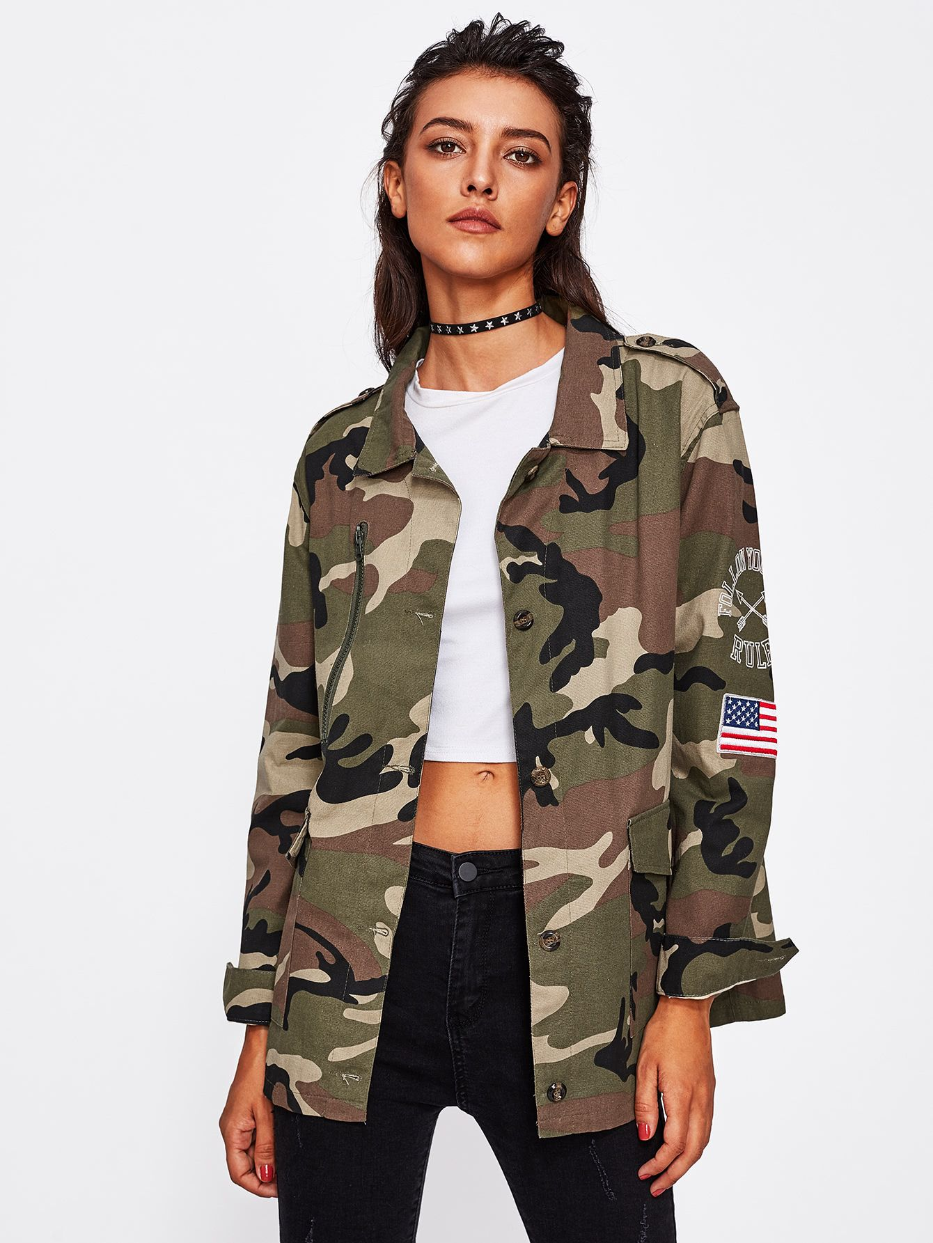 2019 year style- How to camouflage a wear print jacket