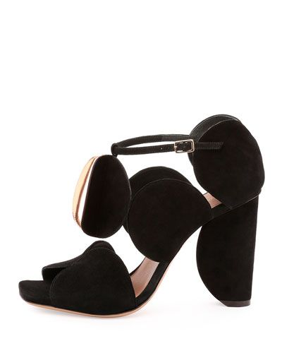 852e1f322e WANT Dries van Noten Circle-Cut Suede Block-Heel Sandal, Black ...