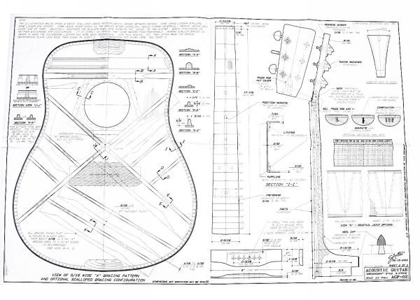Full-size Blueprint for Dreadnought style Acoustic Guitar