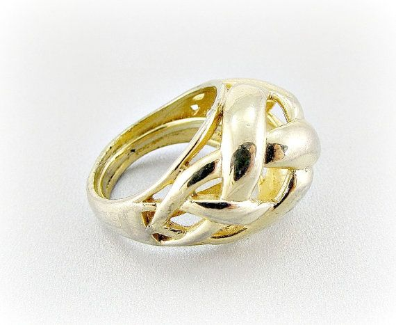 Vintage Statement Ring Gold Knot Ring Big Chunky Gold Ring Gold