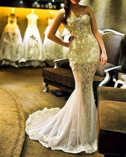 Gold mermaid wedding dress.beautifully detailed | Ever After