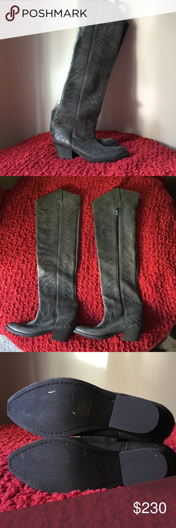 5bbddd2fa38 Jeffrey Campbell slither in charcoal New!Jeffrey Campbell s leather over  the knee boots with the flame stitch. Distressed leather over the knee  cowboy boots ...