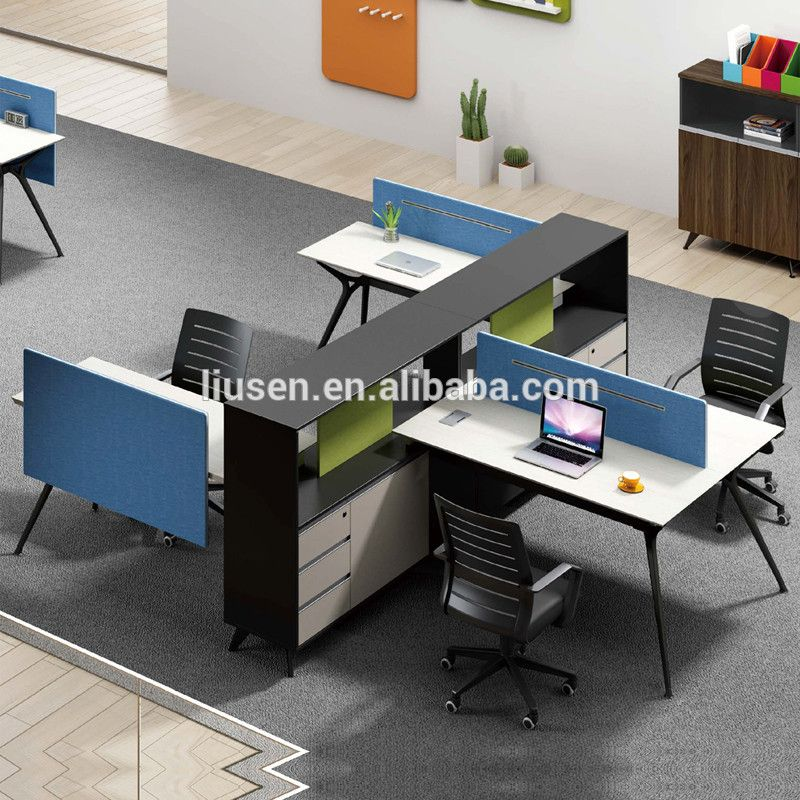Office Table For 4 Person: Popular Elegant Design H-Shape Office Table 4 People