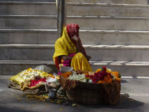 woman in india with flowers - Google Search