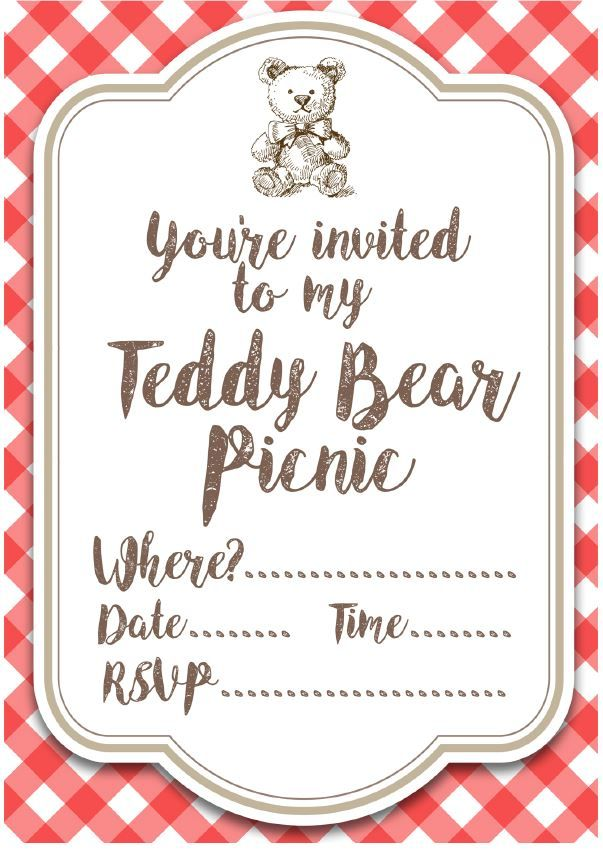 Free Printable Teddy Bear Picnic Invites Teddy bear, Picnics and - birthday invitation template printable