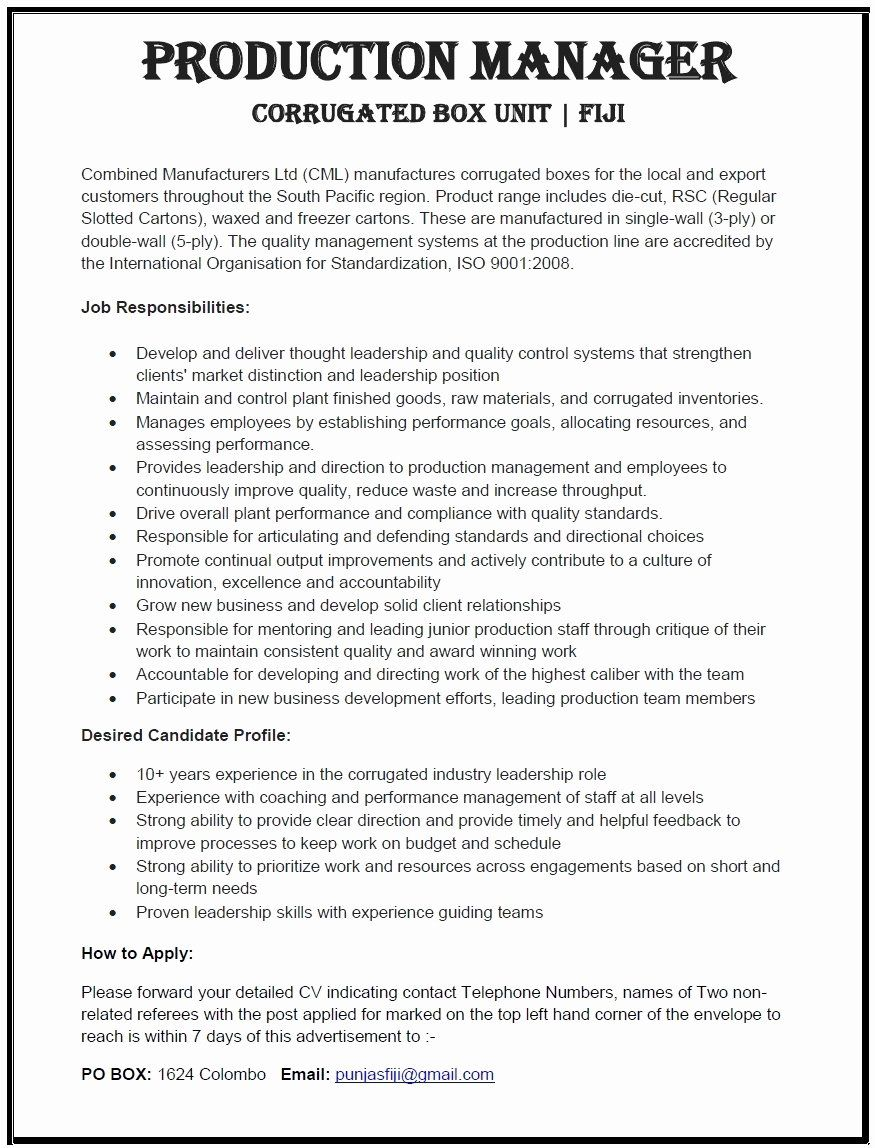 23 Production Supervisor Resume Examples in 2020 Nanny