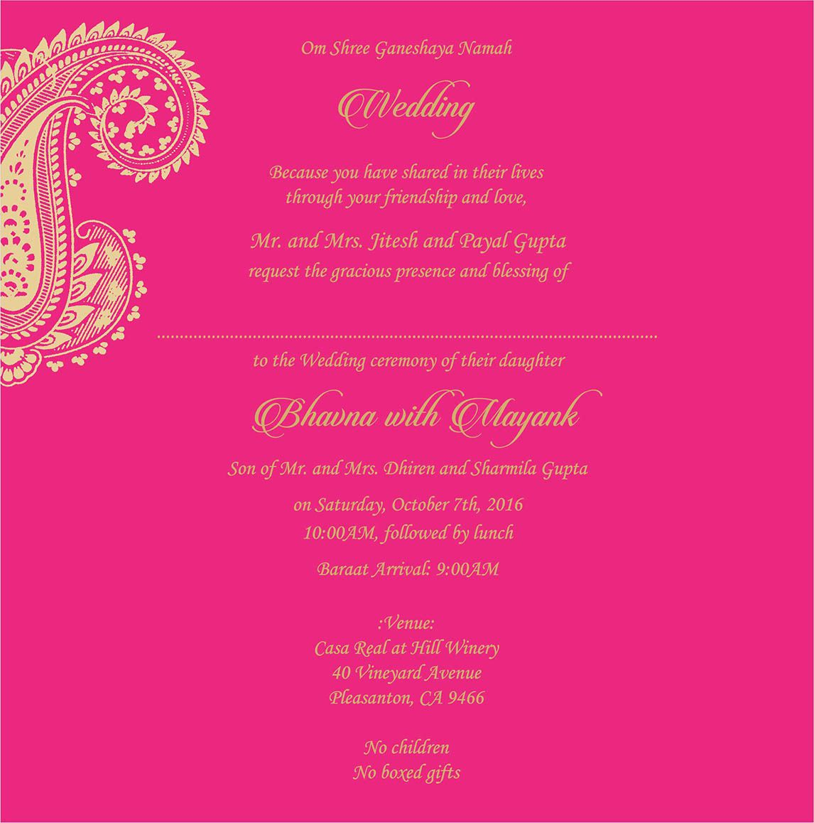 Wedding Invitation Wording For Hindu Wedding Ceremony in ...