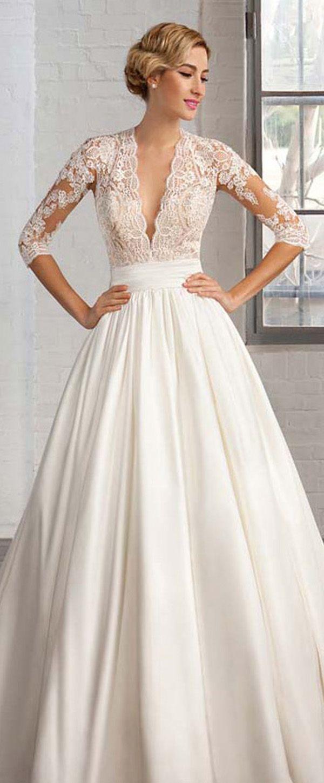 3b32147bd4 Marvelous Tulle   Satin Queen Anne Neckline A-line Wedding Dresses with Lace  Appliques