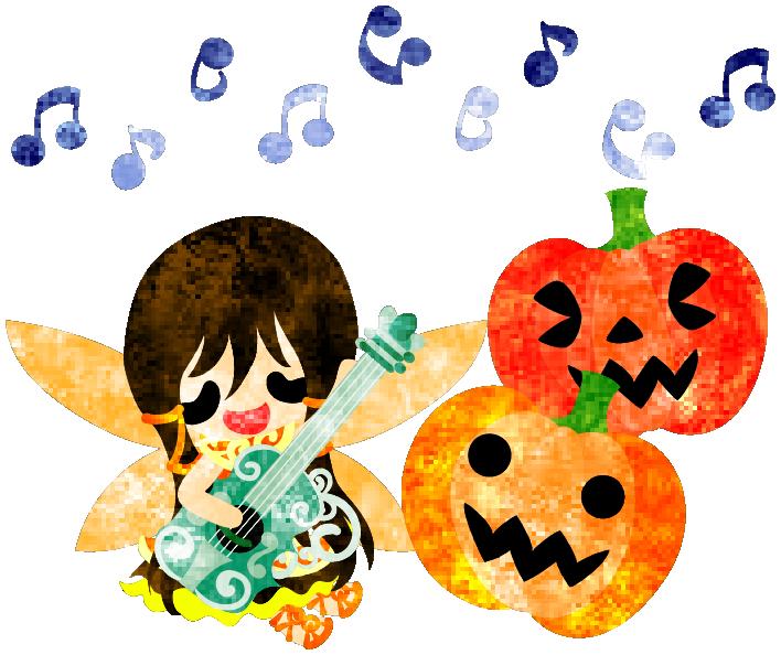 フリーのイラスト素材ハロウィンとジャックオランタンと歌う妖精  Free Illustration Halloween and jack-o-lanterns and a singing fairy   http://ift.tt/2cZKo02