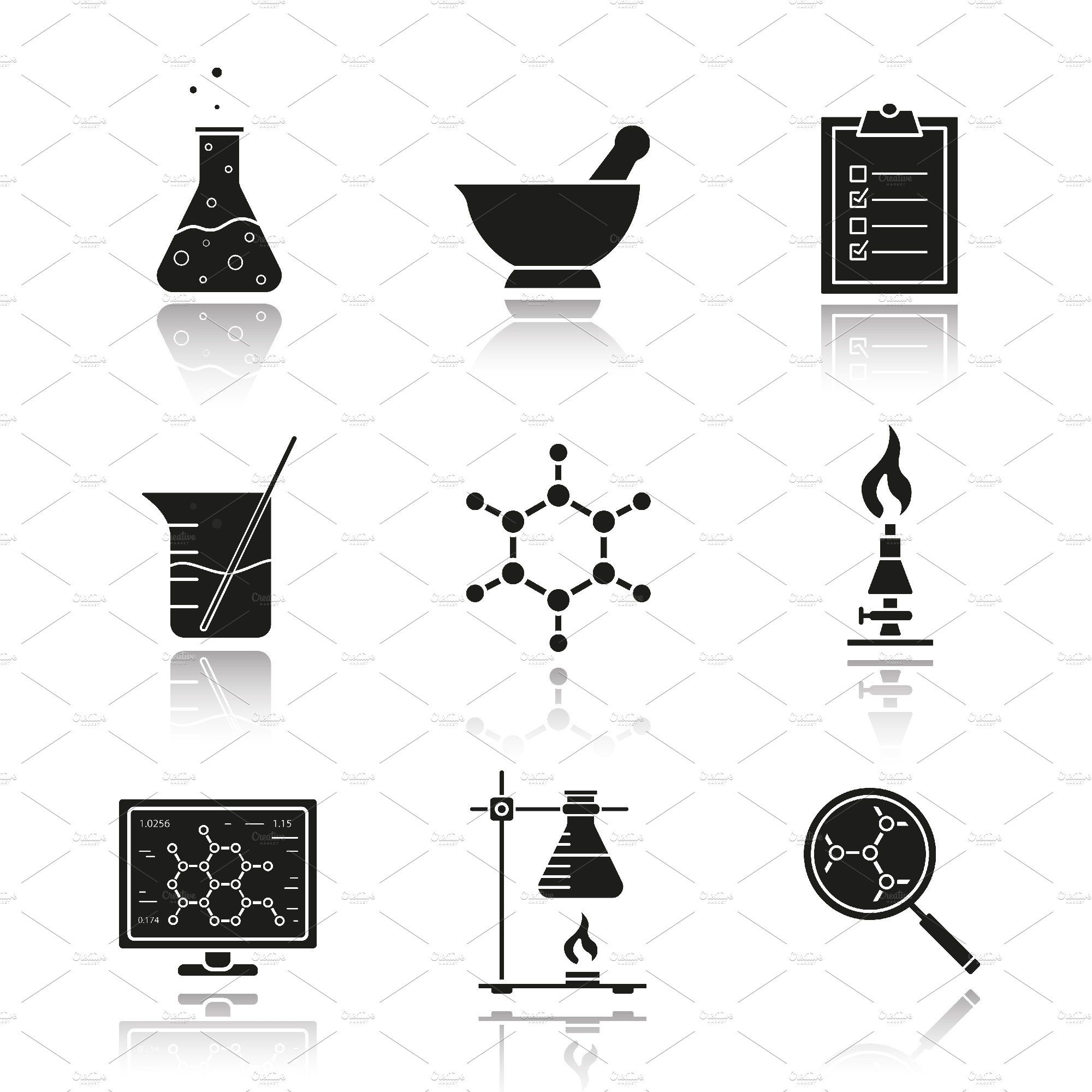 Chemical laboratory icons. Vector by Icons Factory on