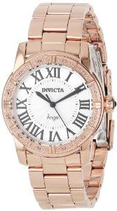 $114.11 Invicta Women's 14375 Angel Silver Dial Diamond-Accented 18k Rose Gold Ion-Plated Stainless Steel Watch