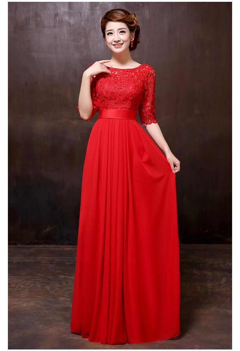 The new red wedding dresses long toast the bride lace evening