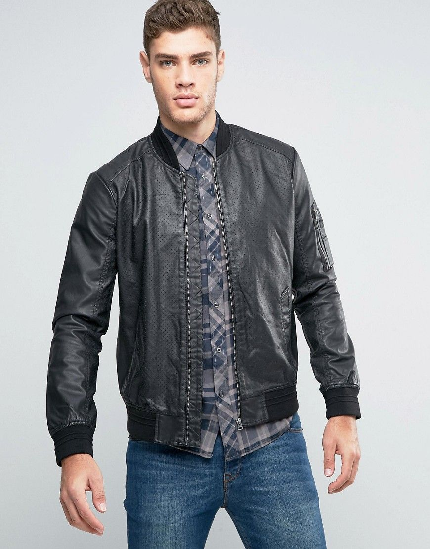 Get This Wrangler S Leather Jacket Now Click For More Details Worldwide Shipping Wrangler Faux Leather Perforated Bomber Jacket Black Bomber Jacket By Wra [ 1110 x 870 Pixel ]
