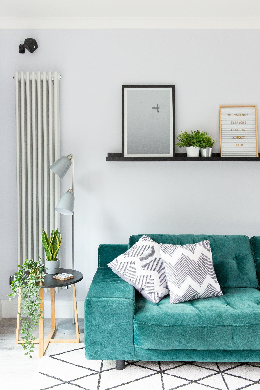 Hendricks Sofa In Emerald Green Velvet From Habitat Living Room Inspiration Geometric Rug Vintage Sofa