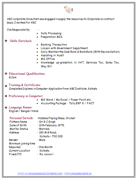 bcom experience resume with cover letter3 - Sample Resume For Bcom Computers Freshers