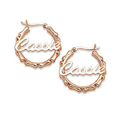 7cf274f5d6a29 18K Gold Plate Name Bamboo Hoop Earrings (4-9 Letters) | Wish List ...