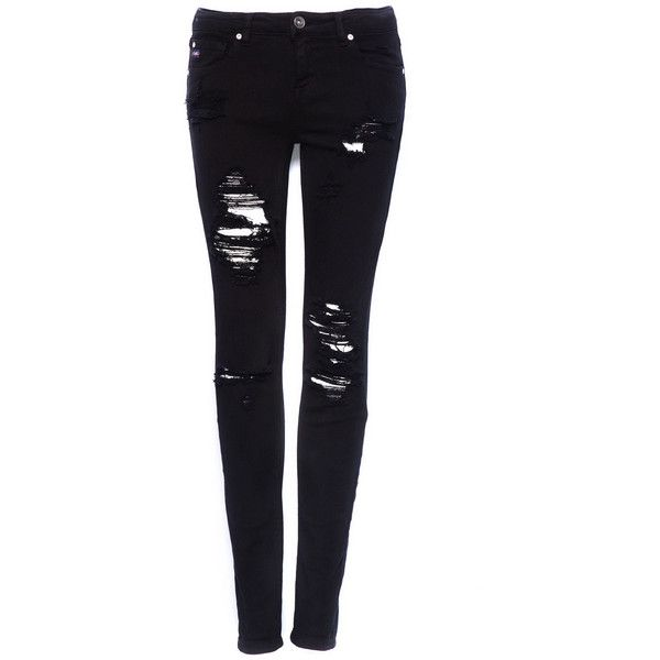 83cadd43b080 Pull   Bear Ripped Skinny Jeans ( 11) ❤ liked on Polyvore featuring jeans