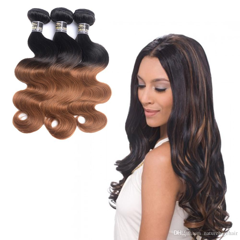 ombre brazilian hair body wave human hair weave 2 tone 1b/27