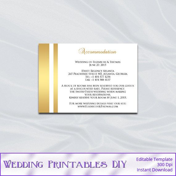 Wedding Enclosure Card Template Gold Foil Diy Hotel Accommodation Cards Invitation Insert Wedding Enclosure Cards Accommodations Card Wedding Accommodations
