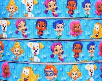 "10 yards Grosgrain Craft Sewing Ribbon Trim - Bubble Guppies Print - 1 "" wide Bubble Guppies"