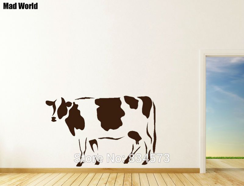Mad World Cow Farm Moo Milk Animal Farmer Wall Art Stickers Wall Decal Home Diy Decoration Removable Room Decor Wa Farmer Wall Art Sticker Wall Art Wall Decals