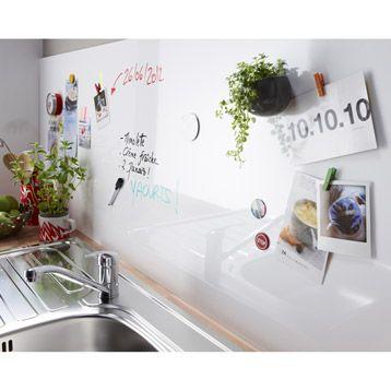 Credence Blanc Ecrivable Magnetique Delinia 240x60 Cm Ep 14 Mm Avec Images Credence Cuisine Credence Tableau Blanc Magnetique