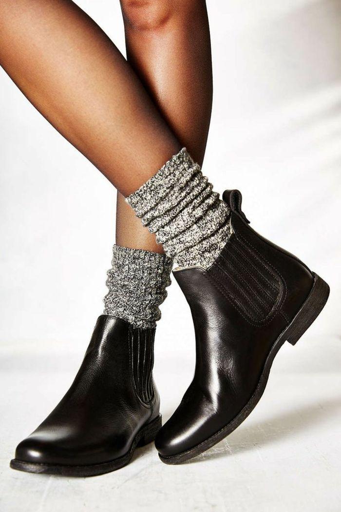 bottines noires tendance femme cuir