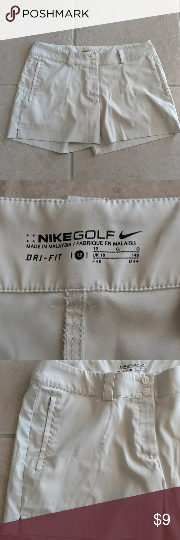Nike Golf Tan Dri-fit Shorts Size 12 Nike Golf in a Light Tan Dri-fit Shorts Size 12. Great shape. Lost weight and too big now. Smoke free home. Nike Shorts
