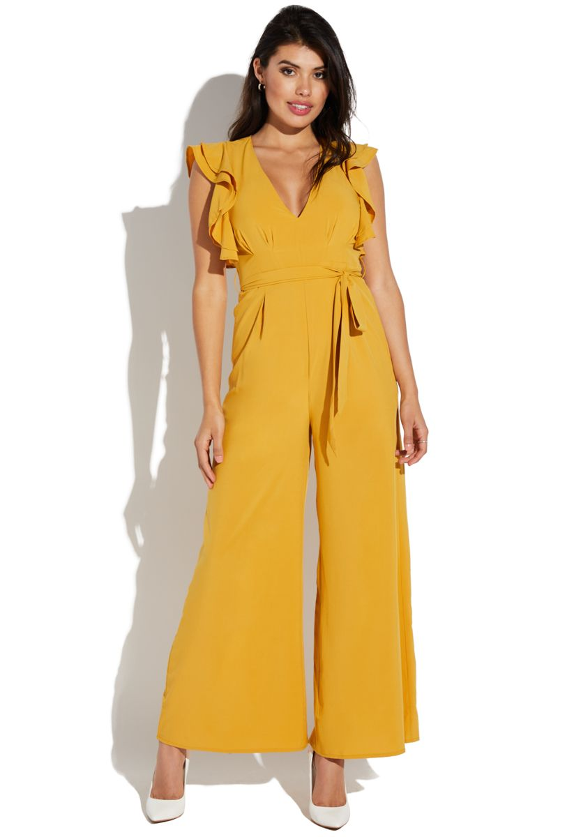 acbf5086601 Shoedazzle Ruffle Sleeve Jumpsuit With Sash Womens Mustard Size S ...