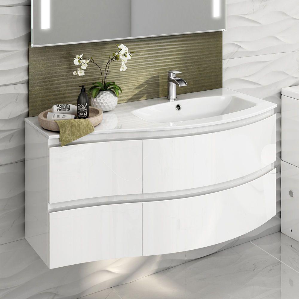 Modern White Vanity Unit Curved Bathroom Furniture Sink Basin Wall ...