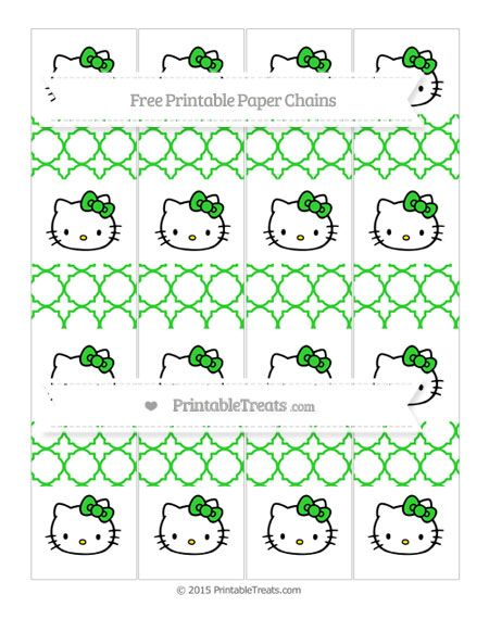 Free Lime Green Quatrefoil Pattern Hello Kitty Paper Chains
