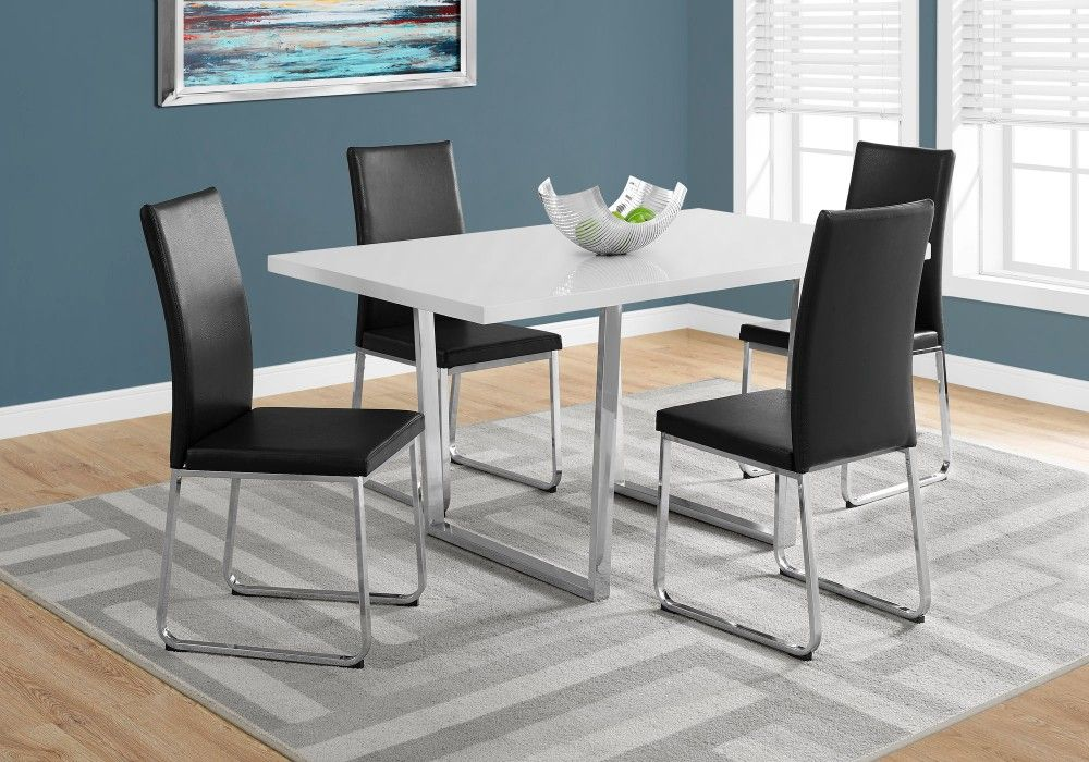 Dining Table 36 X 60 White Glossy Chrome Metal Monarch