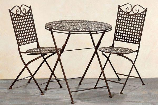 3tlg Set Sitzgarnitur Garten Metall In Landhausbraun 1 Tisch