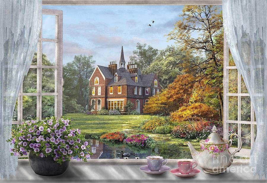 картина вид из окна в сад блокируют счёт