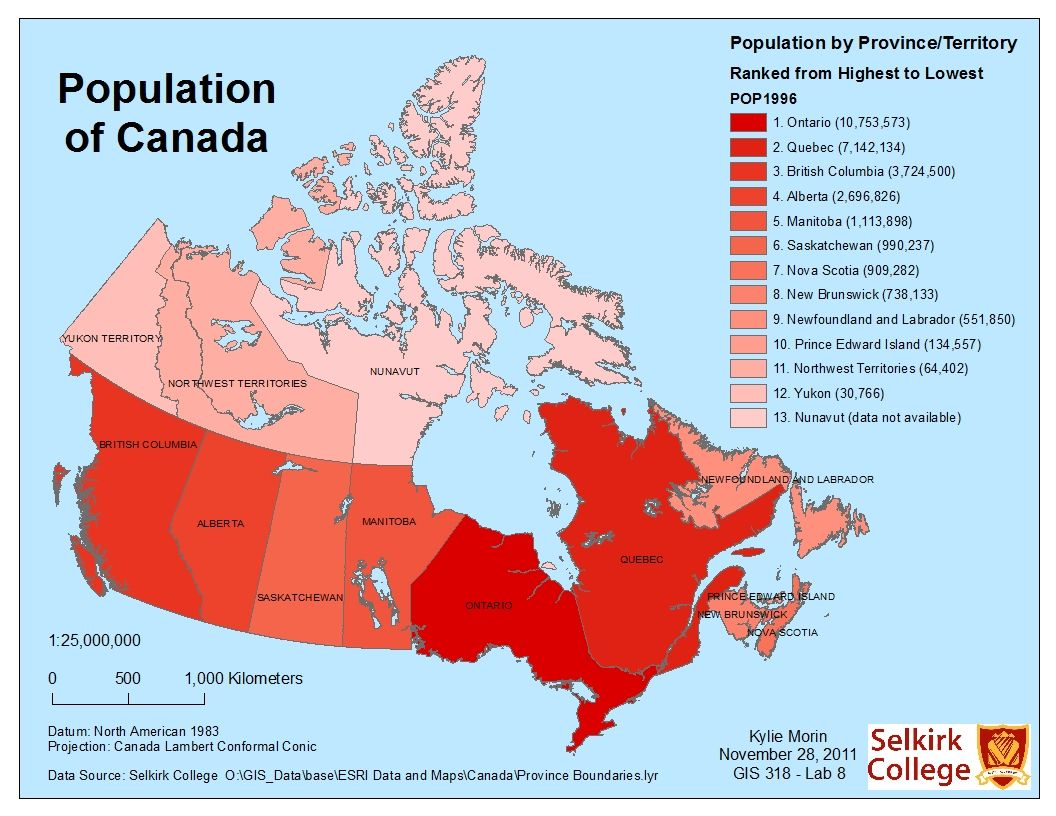 detailed population map of canada google search