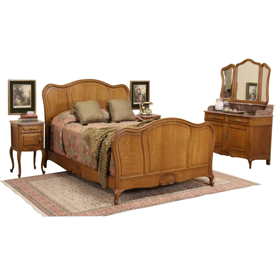 Country French Oak Antique Double Size Pc Bedroom Set