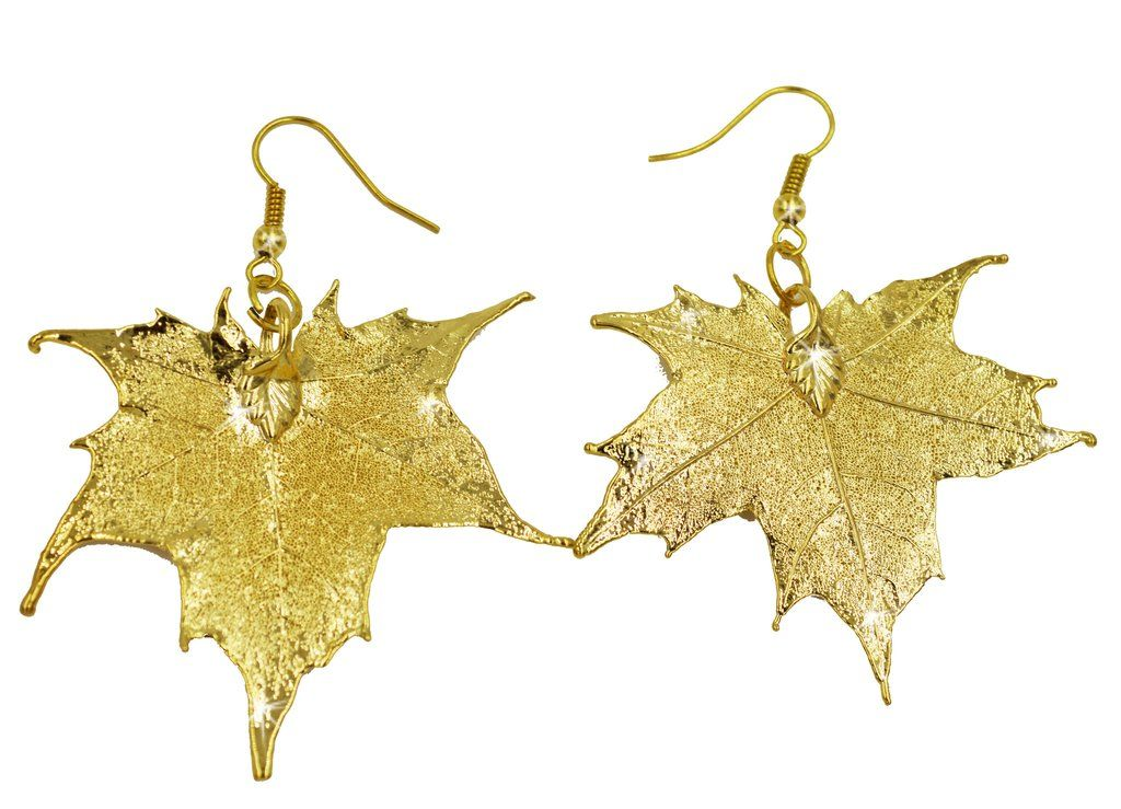 Real Leaf Hook Drop EARRINGS Sugar Maple in 24k Yellow gold Real