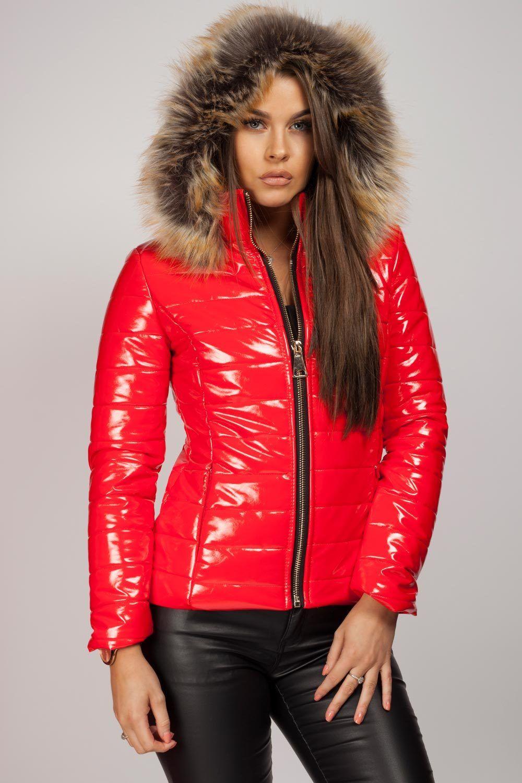 Wet Look Puffer Coat With Faux Fur Hood Faux fur hooded