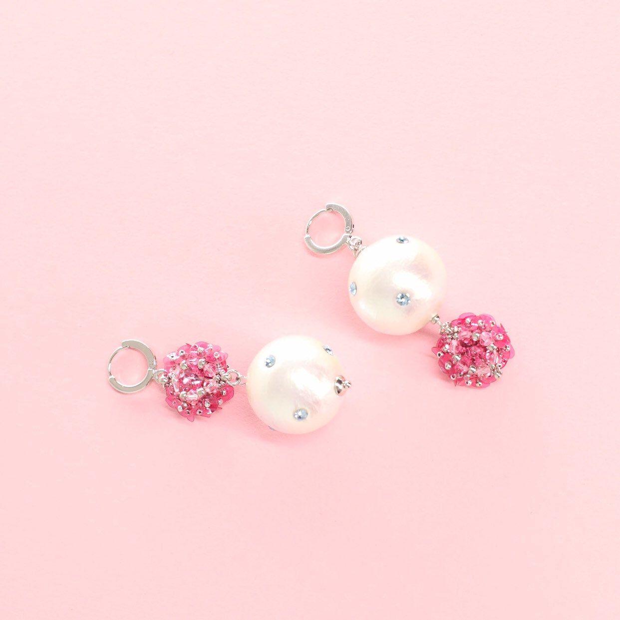 Large Pearl Drop Earrings By Olgakaraulova Pink And White Asymmetric Earrings Mismatch Sequins Faux Pearl Earrings Stilnaya Bizhuteriya Modnye Sergi Sergi