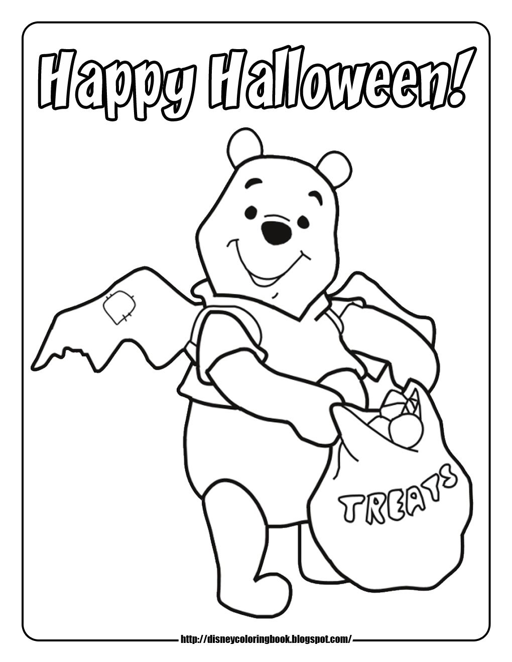 Happy Halloween Winnie The Pooh Colouring Page Halloween Coloring Pages Disney Coloring Pages Bear Coloring Pages