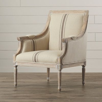 Showcasing A Weathered Wood Frame And Stripe Print Upholstery This Chic Arm Chair Brims With Timeless Sty Farmhouse Accent Chair Armchair French Accent Chairs