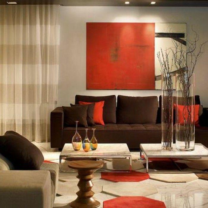 Wohnzimmer dekorieren braun und rot Wohnzimmer Design Pinterest